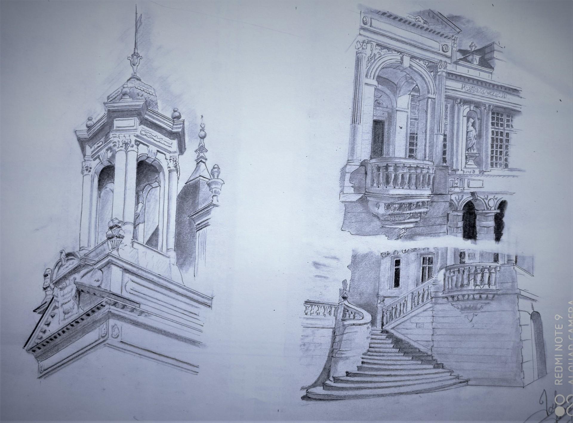 esquisse  crayon Hotel de Ville de la Rochelle