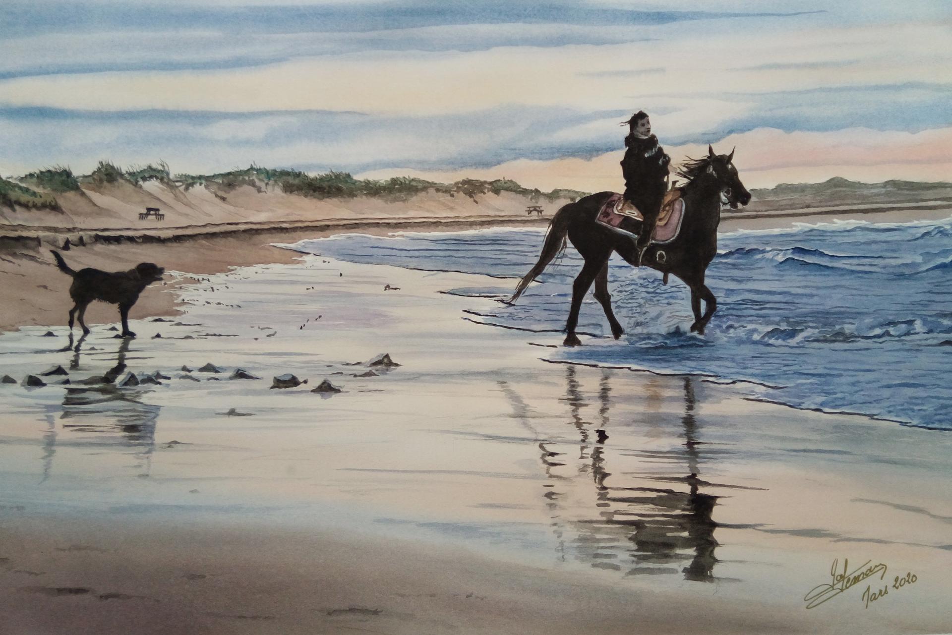 cavalière et son chien aquarelle 60 x40