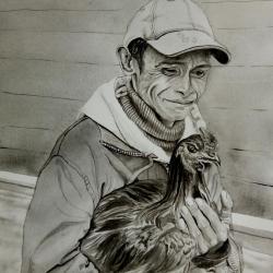 homme et sa poule