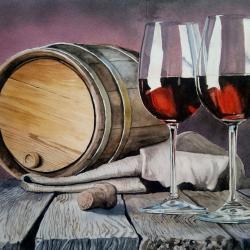 baril et deux verres
